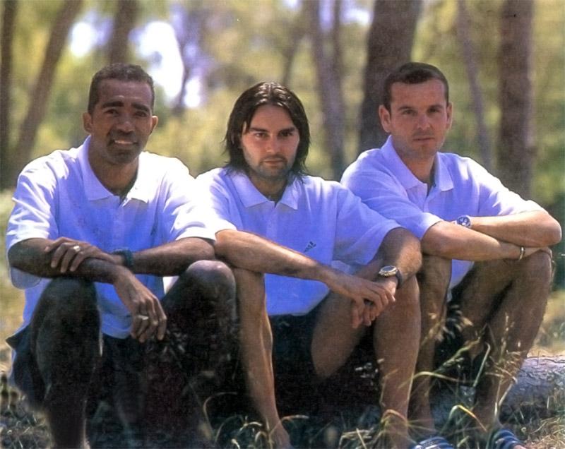Avec Reynald Pedros et Nicolas Ouédec à Montpellier, été 1999 (Photo : D.R.)