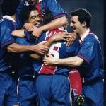 But de Cauet - PSG/Liverpool - 10/04/97 (photo : Christian Gavelle - PSG)