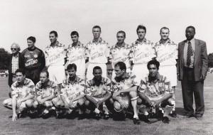 Debout : JF Laurent, Montanier, LeGuen, Leroy, Guyot, LeFrapper, Pignol, Guérin, Pascal Loko.