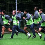 Pat de retour à l'entraînement avec le PSG - septembre 1995